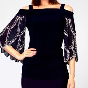 NWOT Black Off-Shoulder Bejeweled Sheer Flared Sleeved Top Size 8
